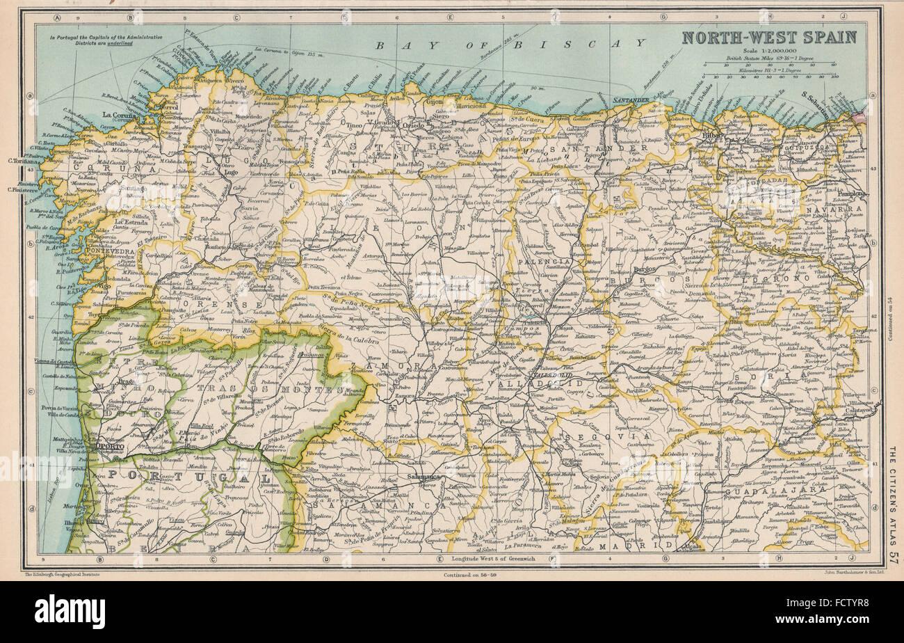Mappa Spagna Nord Ovest.A Nord Ovest Della Spagna Galizia Asturie Leon Vecchia Castiglia Paese Basco 1924 Mappa Foto Stock Alamy