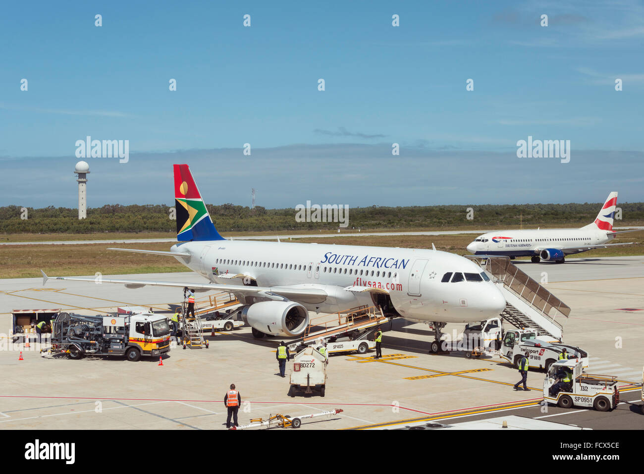 South African Airways Airbus A320 che, Port Elizabeth Aeroporto Internazionale di Port Elizabeth, Capo orientale, Immagini Stock