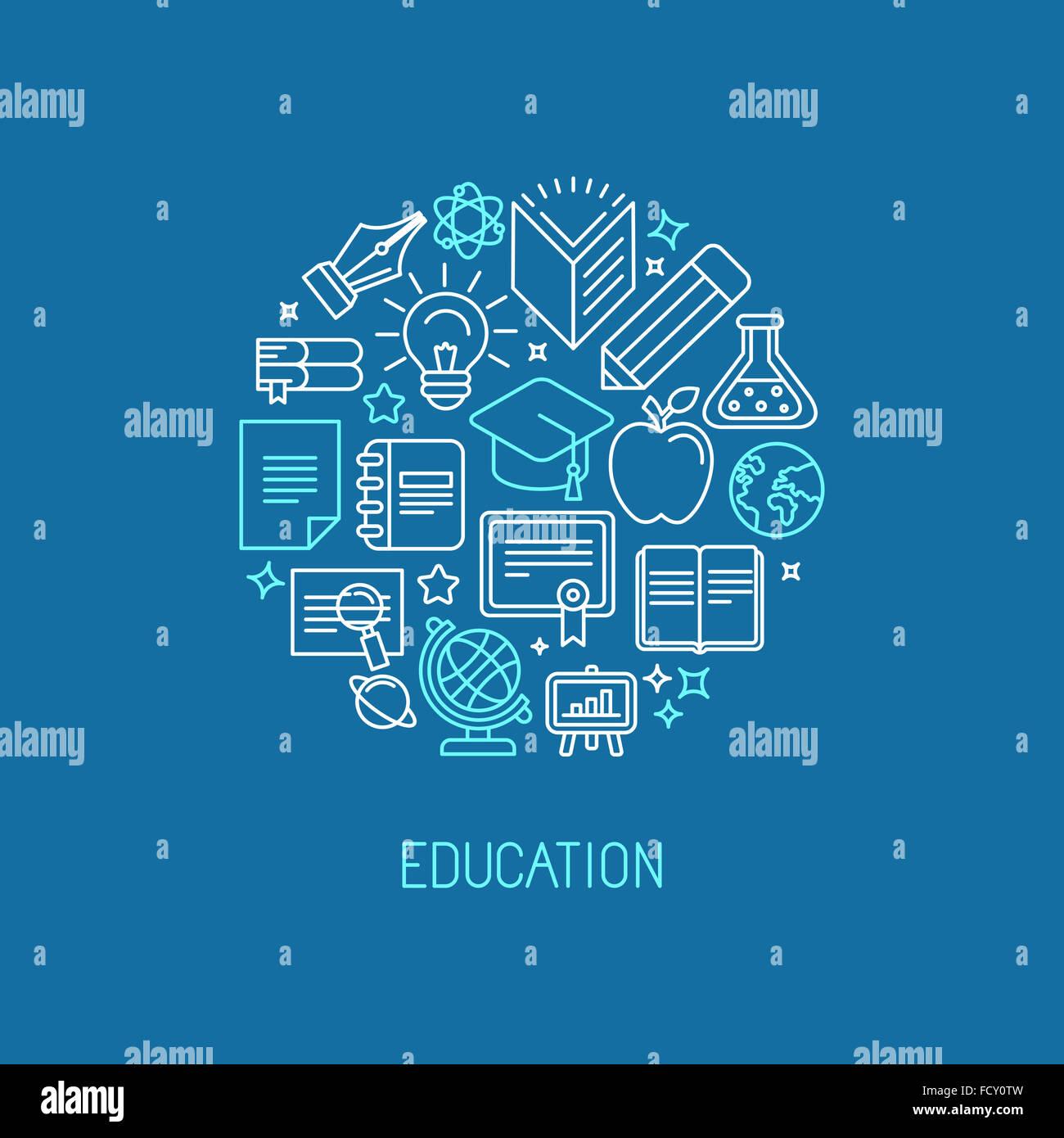 Logo lineare modello di progettazione - educazione on line e il concetto di università nel quartiere alla moda Immagini Stock