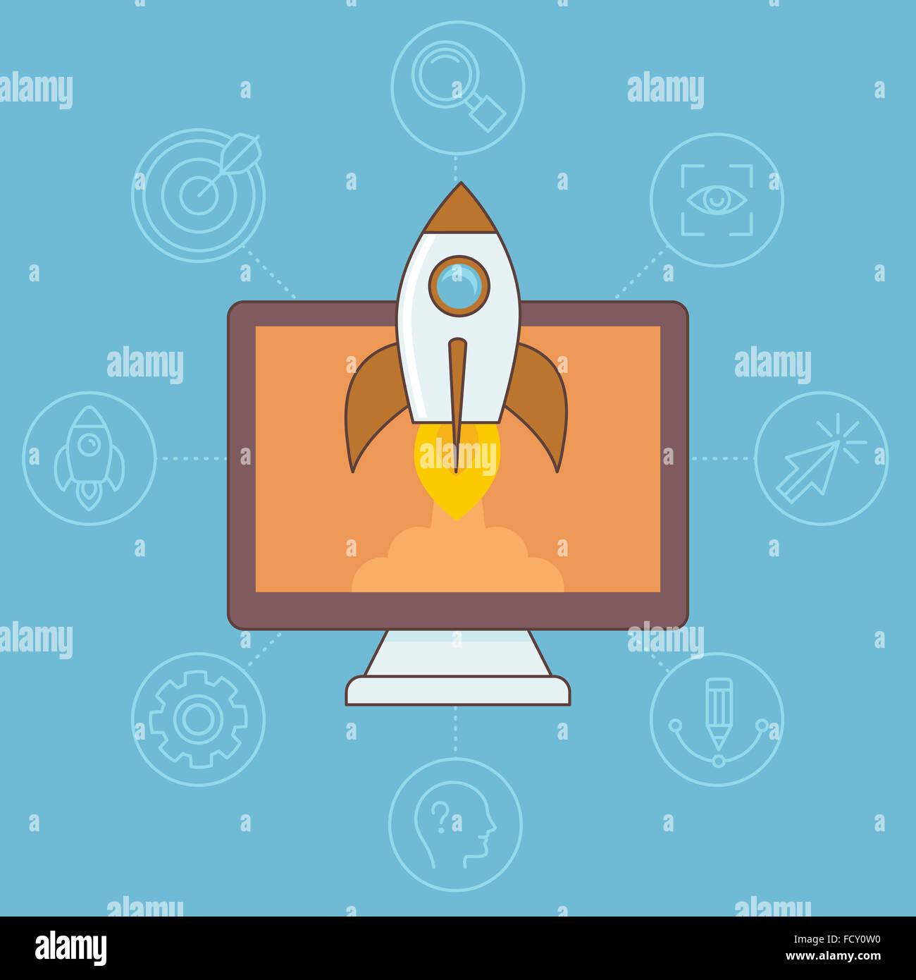 Avviare il concetto nel piatto stile lineare - nave spaziale e il computer Immagini Stock