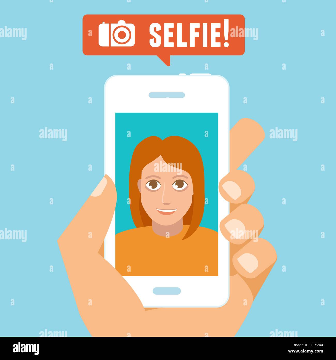 Concetto Selfie - carattere piatto tenendo selfie da telefono cellulare - nuovo concetto tecnologico Immagini Stock