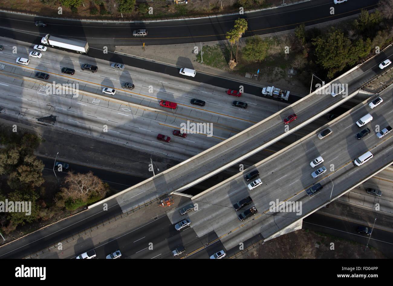 Los Angeles antenna vista freeway. Immagini Stock