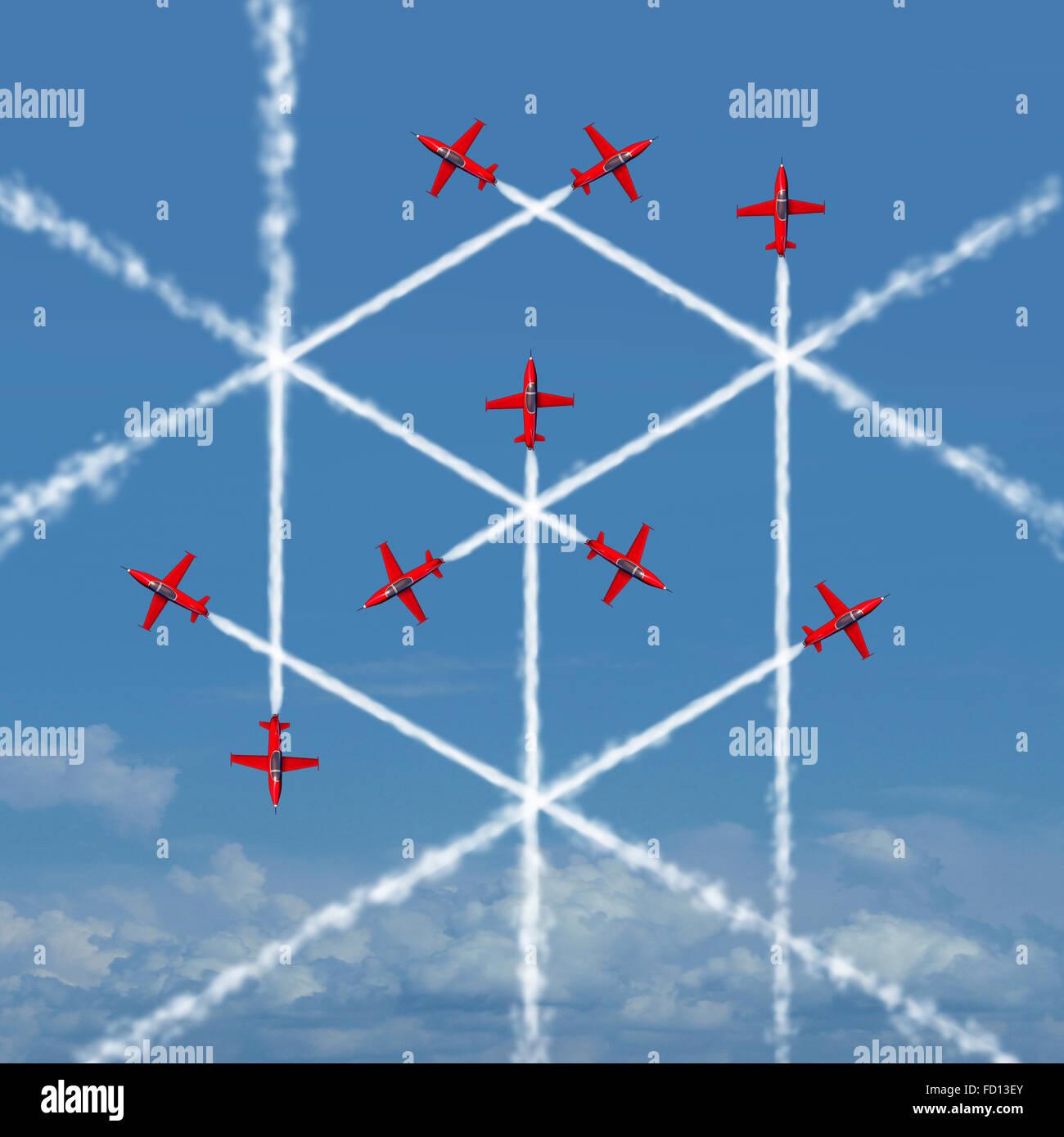 Cubo geometrico nozione come un astratto tridimensionale forma quadrata creato dal sentiero di fumo di volare aerei Immagini Stock