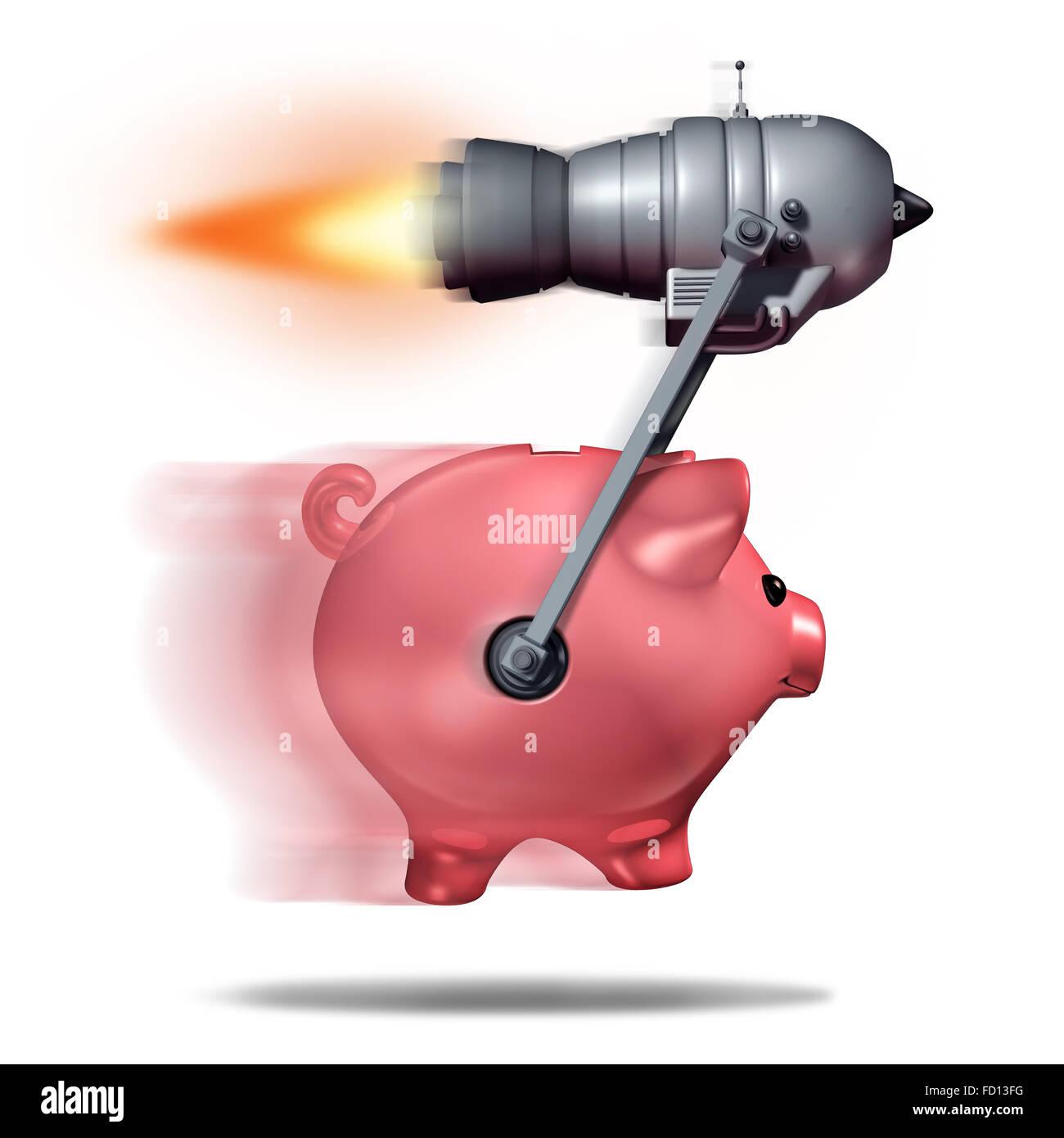 Fast cash concetto e successo aziendale come simbolo di un salvadanaio essendo accelerata di un motore a razzo come Immagini Stock