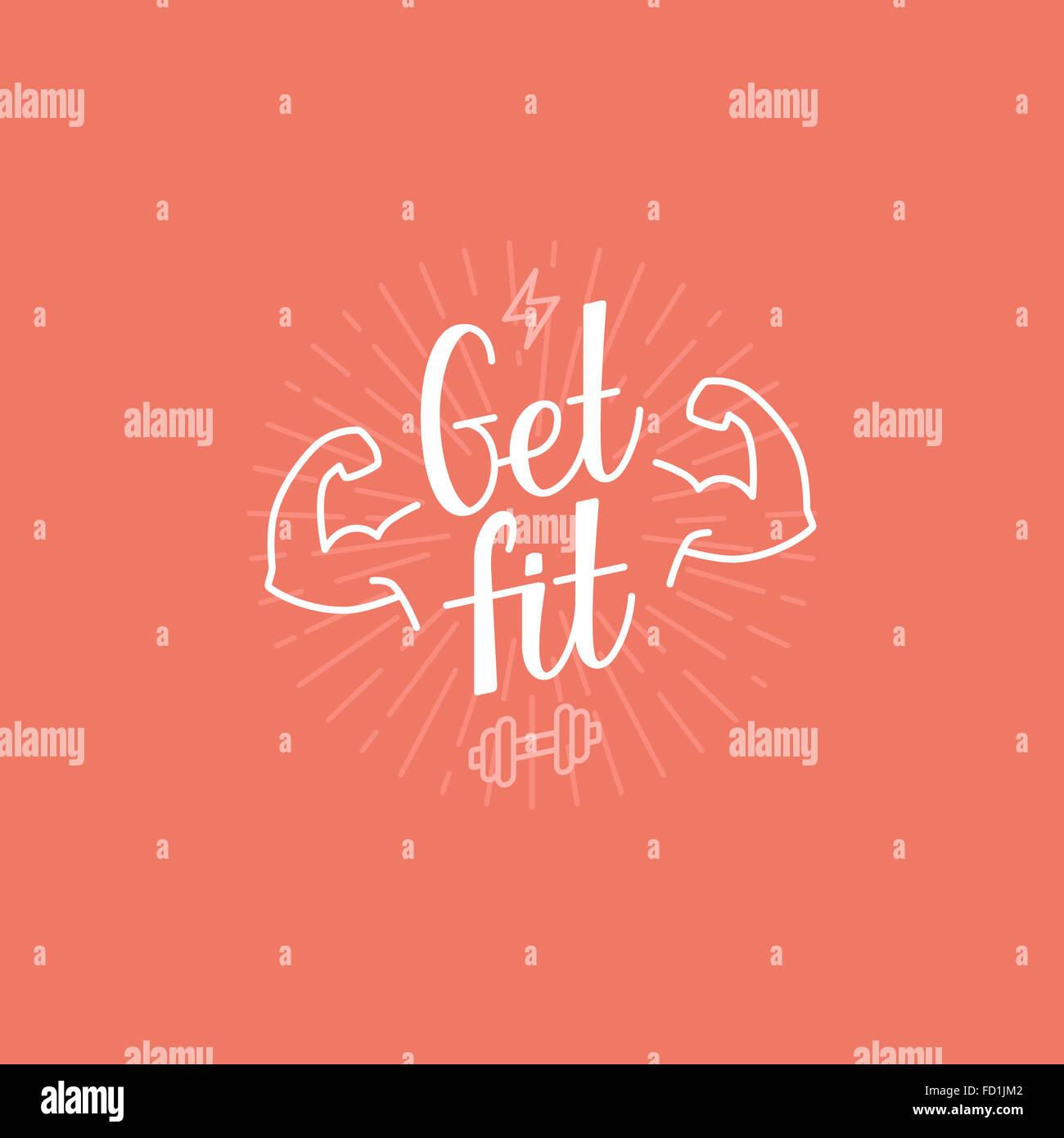 Sport banner motivazionali - get fit scritte - fitness concetto poster Immagini Stock