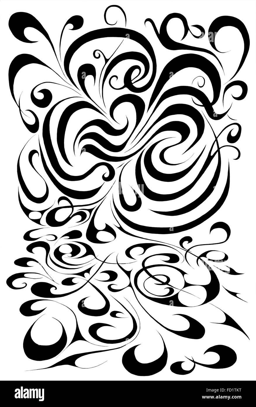 Gigante, swirly, Black & White doodle Immagini Stock