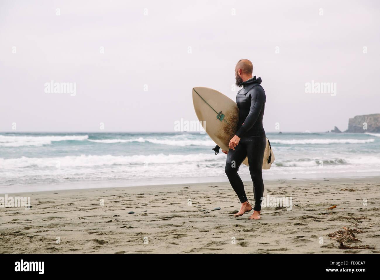 Un surfista passeggiate in dall'acqua dopo un giorno di onde in Big Sur, California. Immagini Stock
