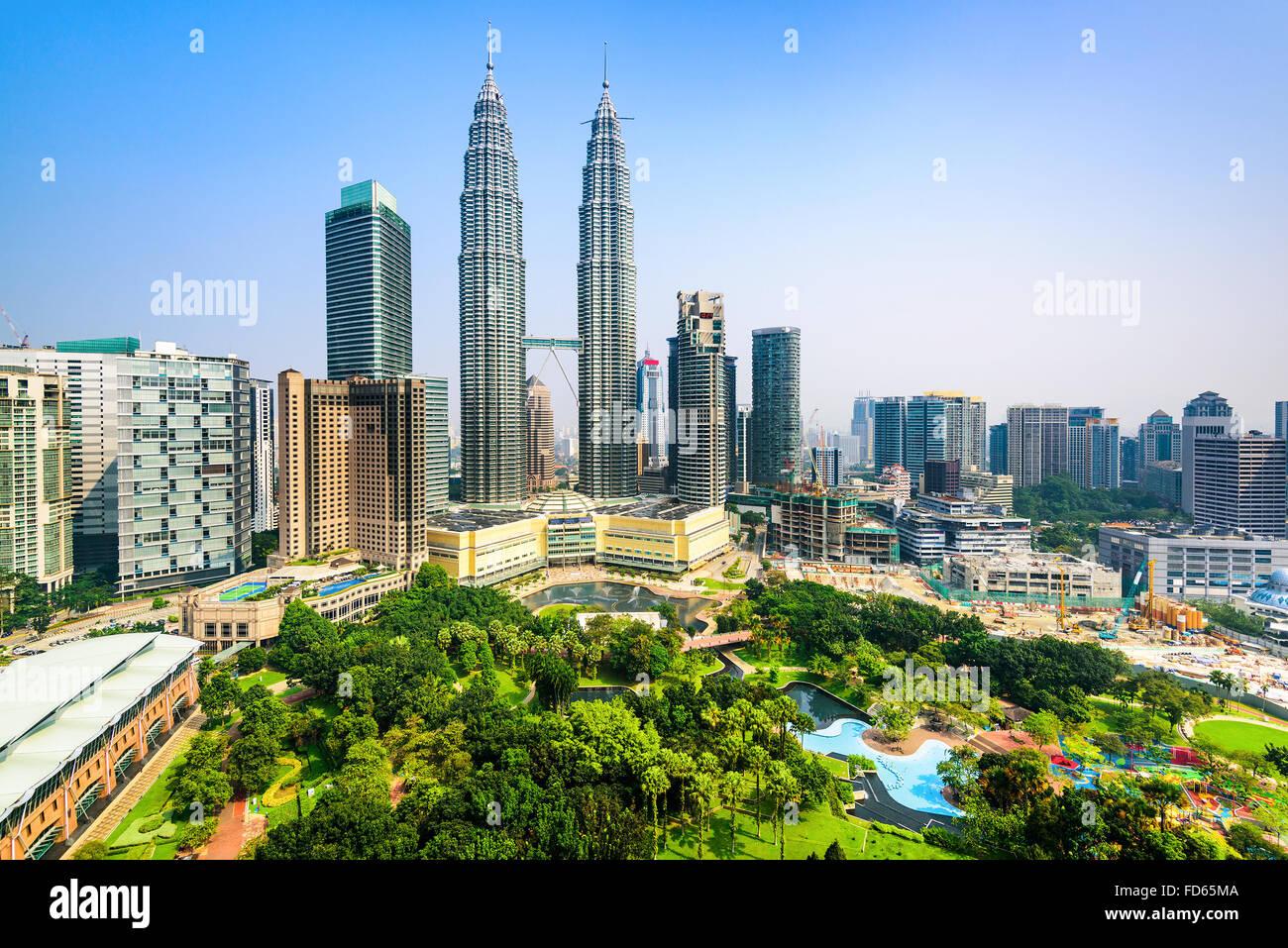 Kuala Lumpur, Malesia centro città skyline. Immagini Stock