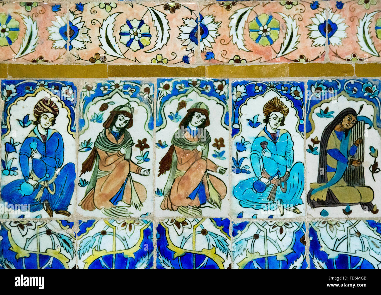 Mosaico con piastrelle di ceramica in ganjali khan hammam central