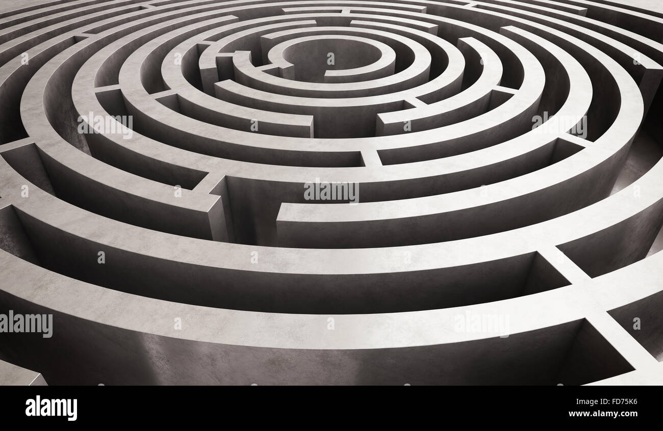 Difficile labirinto circolare Immagini Stock