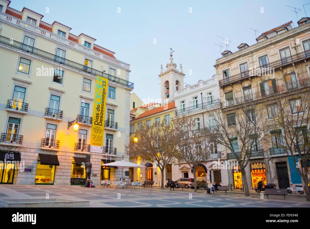 Largo Picadeiro, Chiado, Lisbona, Portogallo Immagini Stock
