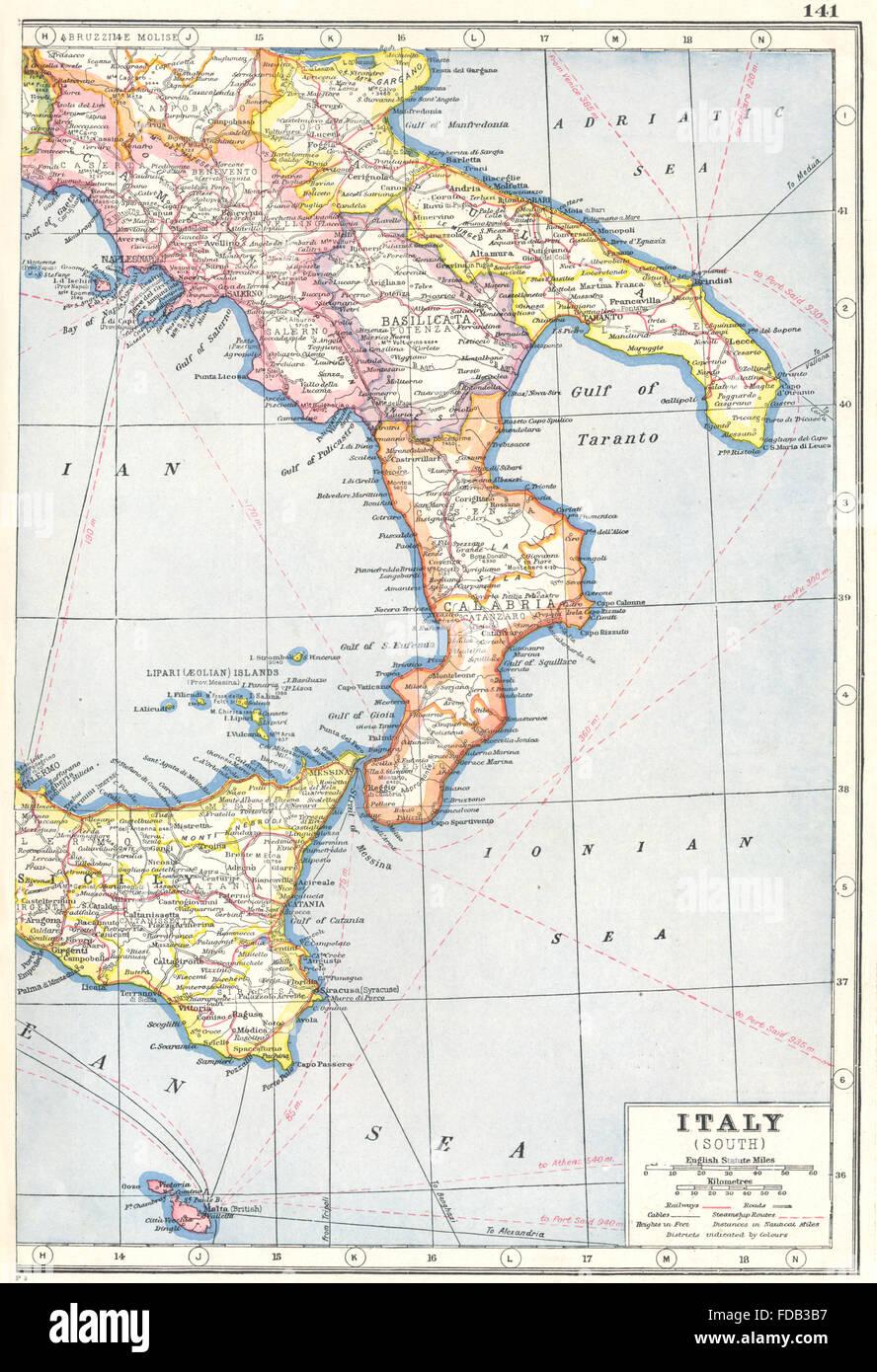 Cartina Calabria E Basilicata.Italia Del Sud Malta Sicilia Calabria Basilicata Puglia Campania Telegrafo 1920 Mappa Foto Stock Alamy