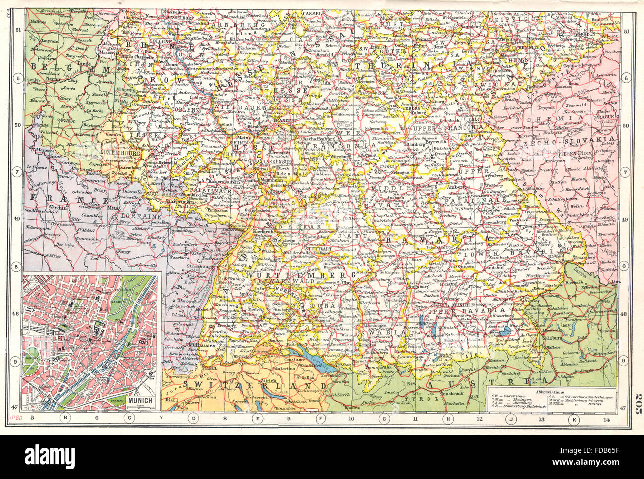 Cartina Geografica Germania Del Sud.Germania Del Sud Wurttemberg Baviera Assia Turingia Inset