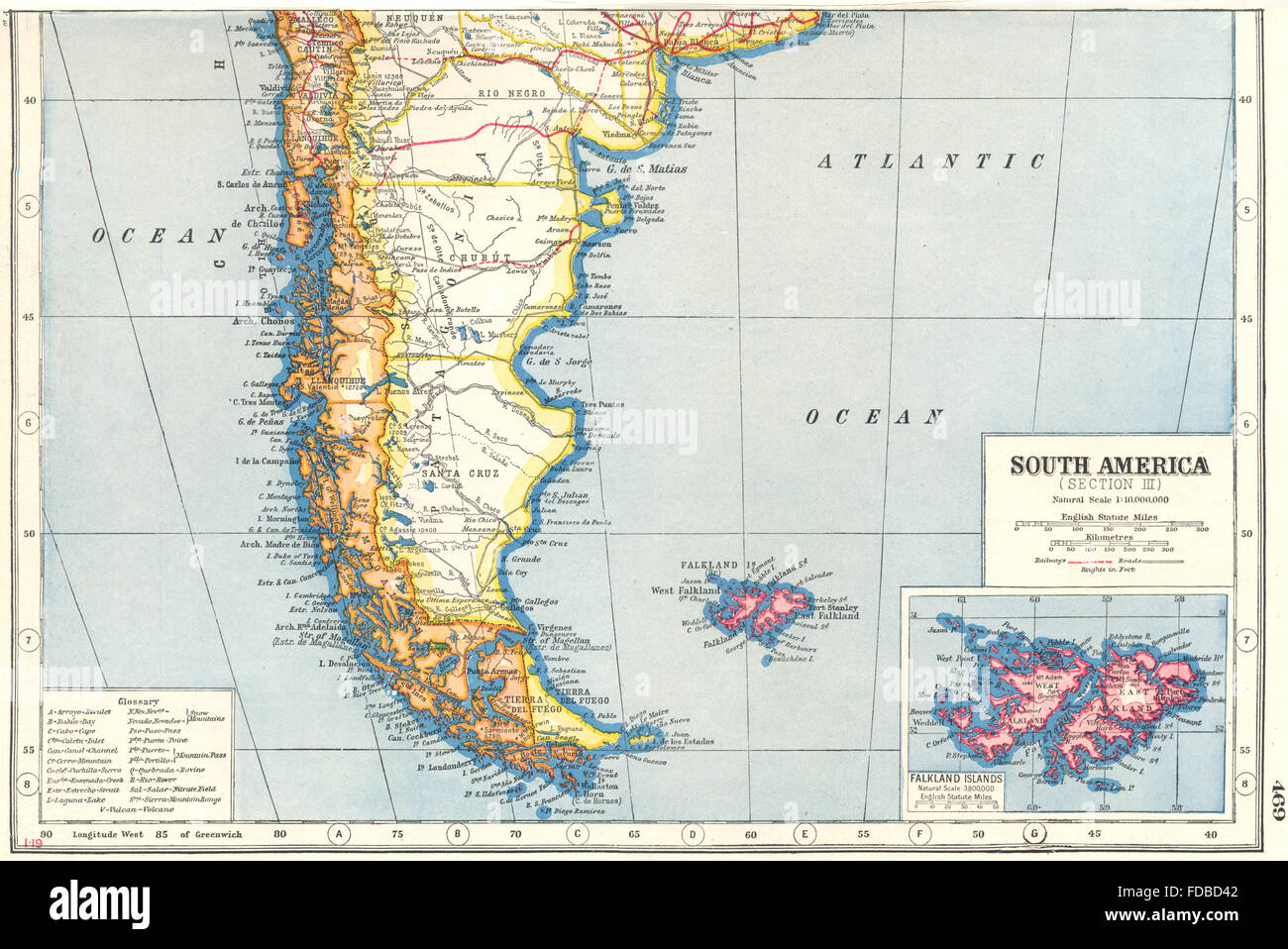 Patagonia Cartina Geografica.Patagonia Sud America Del Sud Argentina Chile Isole Falkland 1920 Mappa Vecchia Foto Stock Alamy