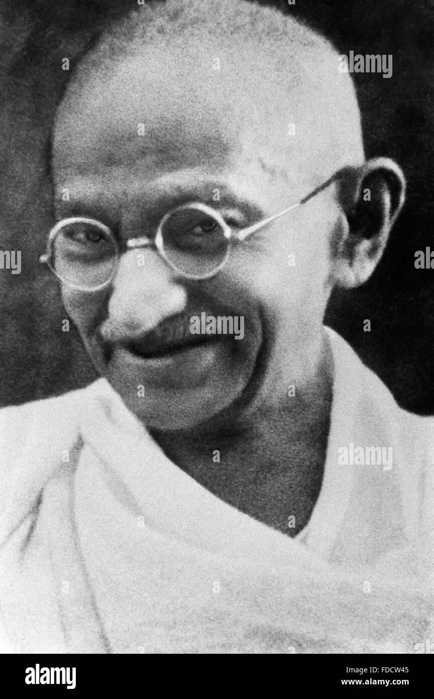 Il Mahatma Gandhi. Ritratto di Mohandas Karamchand Gandhi, ampiamente noto come il Mahatma Gandhi. Fotografare la Immagini Stock