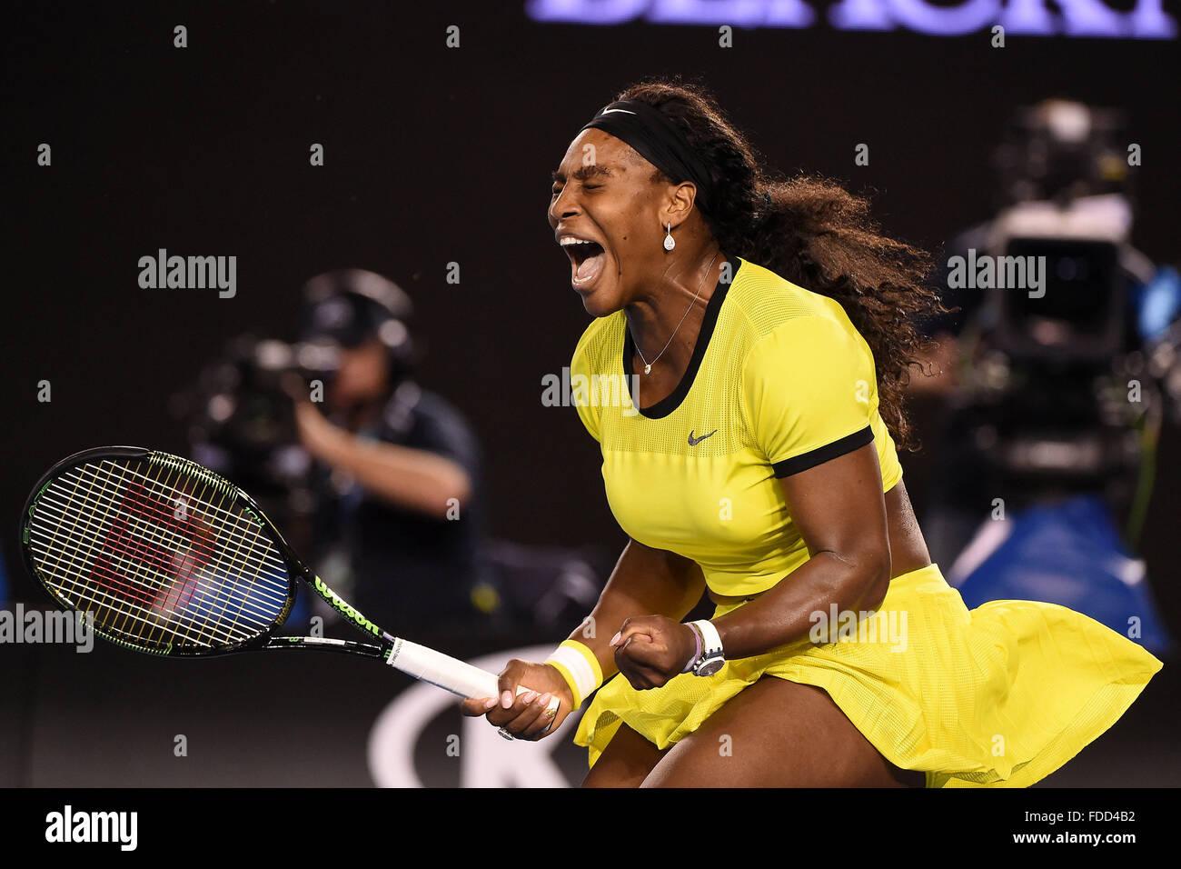 Melbourne Park, Melbourne, Australia. 30 gen, 2016. Australian Open Womens Singles finale di Serena Williams contro Immagini Stock