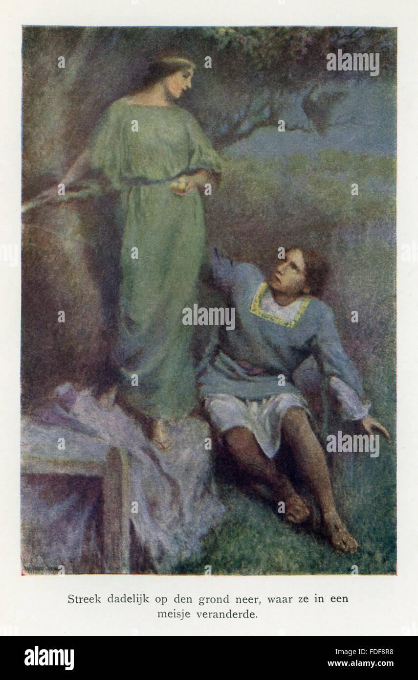 La didascalia per questa illustrazione si legge: Il pisello uando si trasforma in una fanciulla. Secondo la leggenda, Immagini Stock