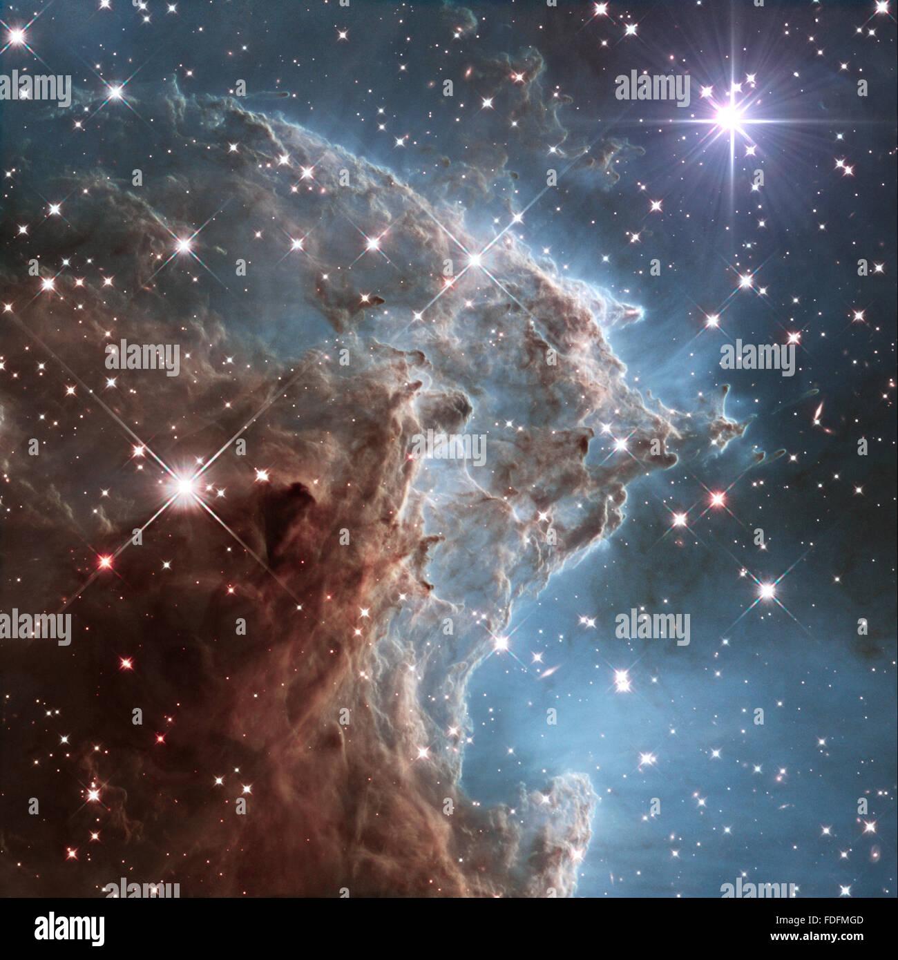 Immagine della NASA grande galassia con la stella della sera Immagini Stock