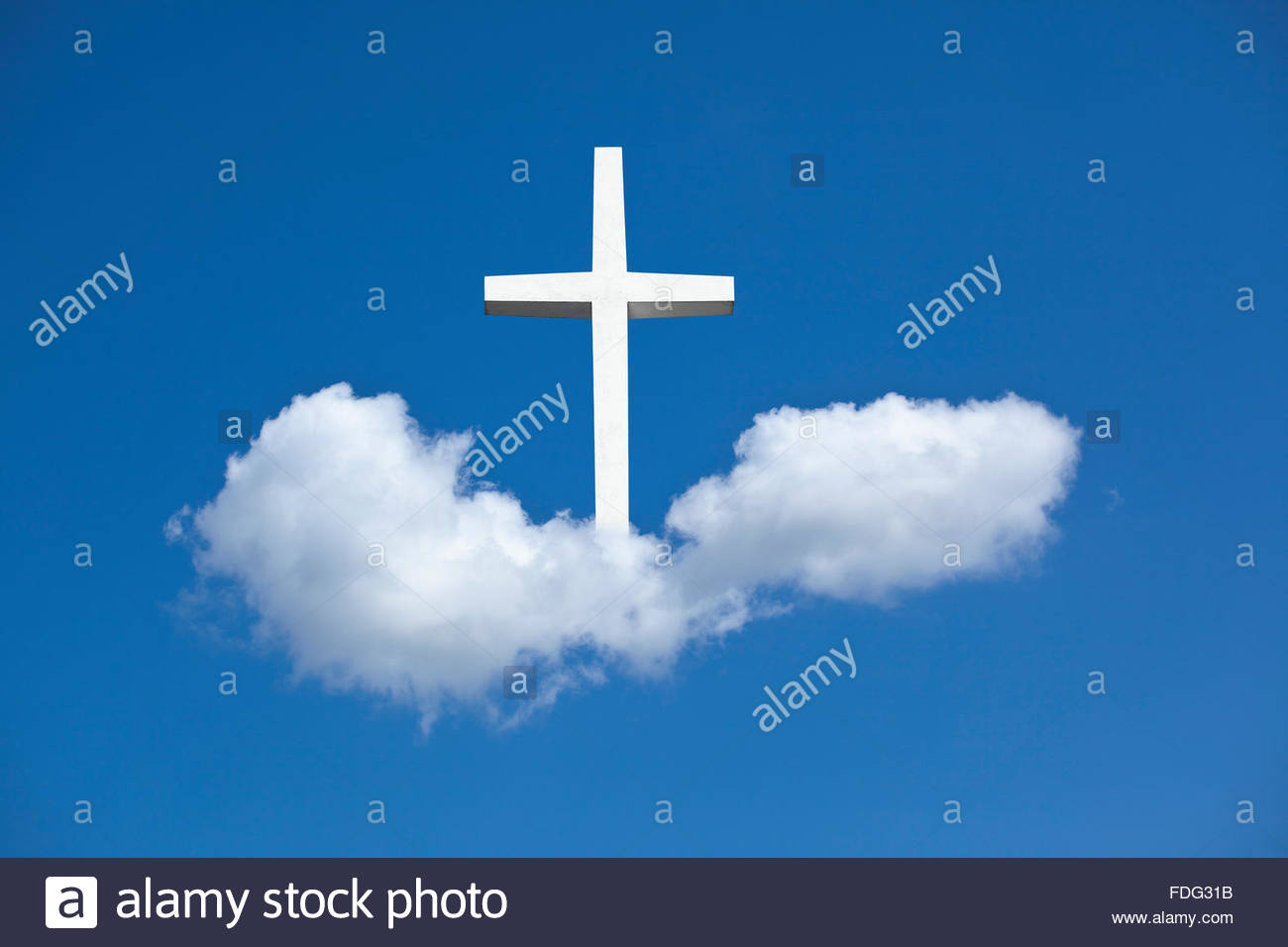 Illustrazione della foto del cielo croce religione cristianesimo icona simbolo di fede religiosa santa heavenward Immagini Stock
