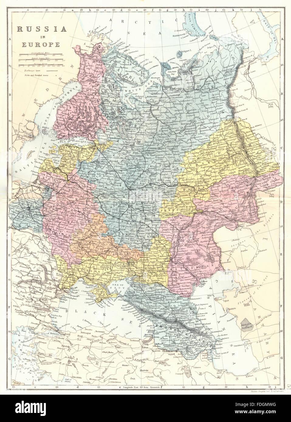 Cartina Geografica Russia Ucraina.La Russia In Europa Ucraina Bielorussia Lituania Lettonia Estonia Bacon 1895 Mappa Foto Stock Alamy