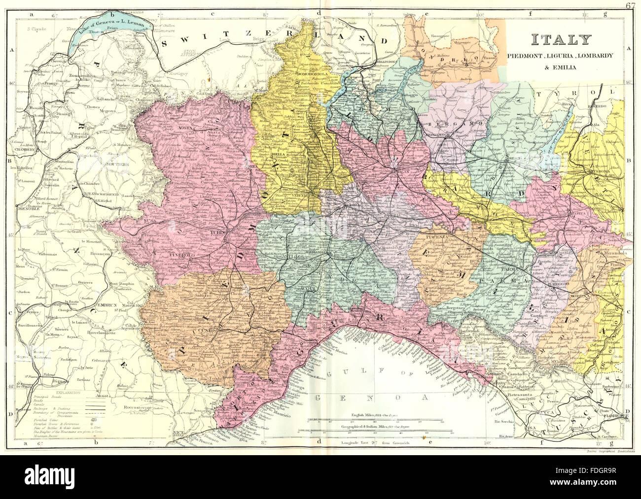 Piemonte E Lombardia Cartina.Italia Nord Ovest Piemonte Liguria Lombardia E L Emilia Bacon 1895 Mappa Antichi Foto Stock Alamy
