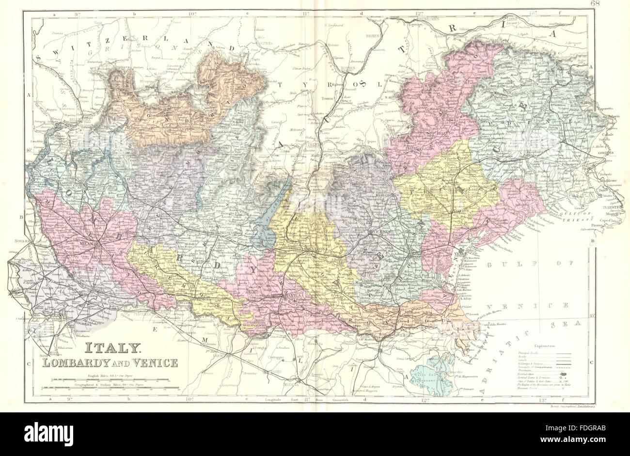 Italia Nord Est Cartina.Italia Nord Est Lombardia Venezia Bacon 1895 Mappa Antichi Foto Stock Alamy