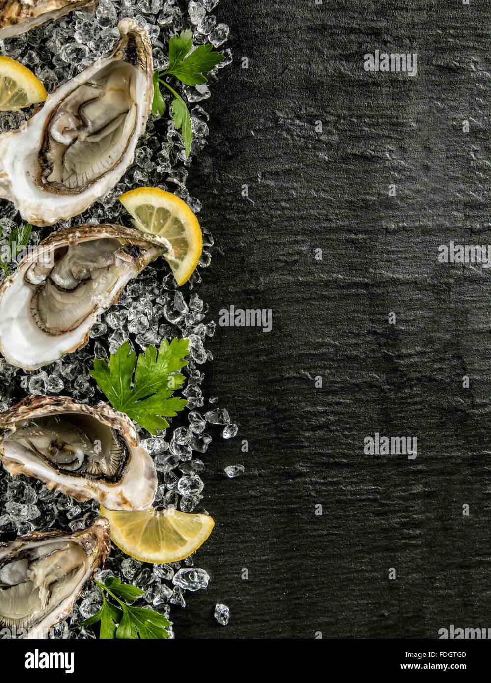 Ostriche serviti sulla lastra di pietra con la deriva di ghiaccio Immagini Stock