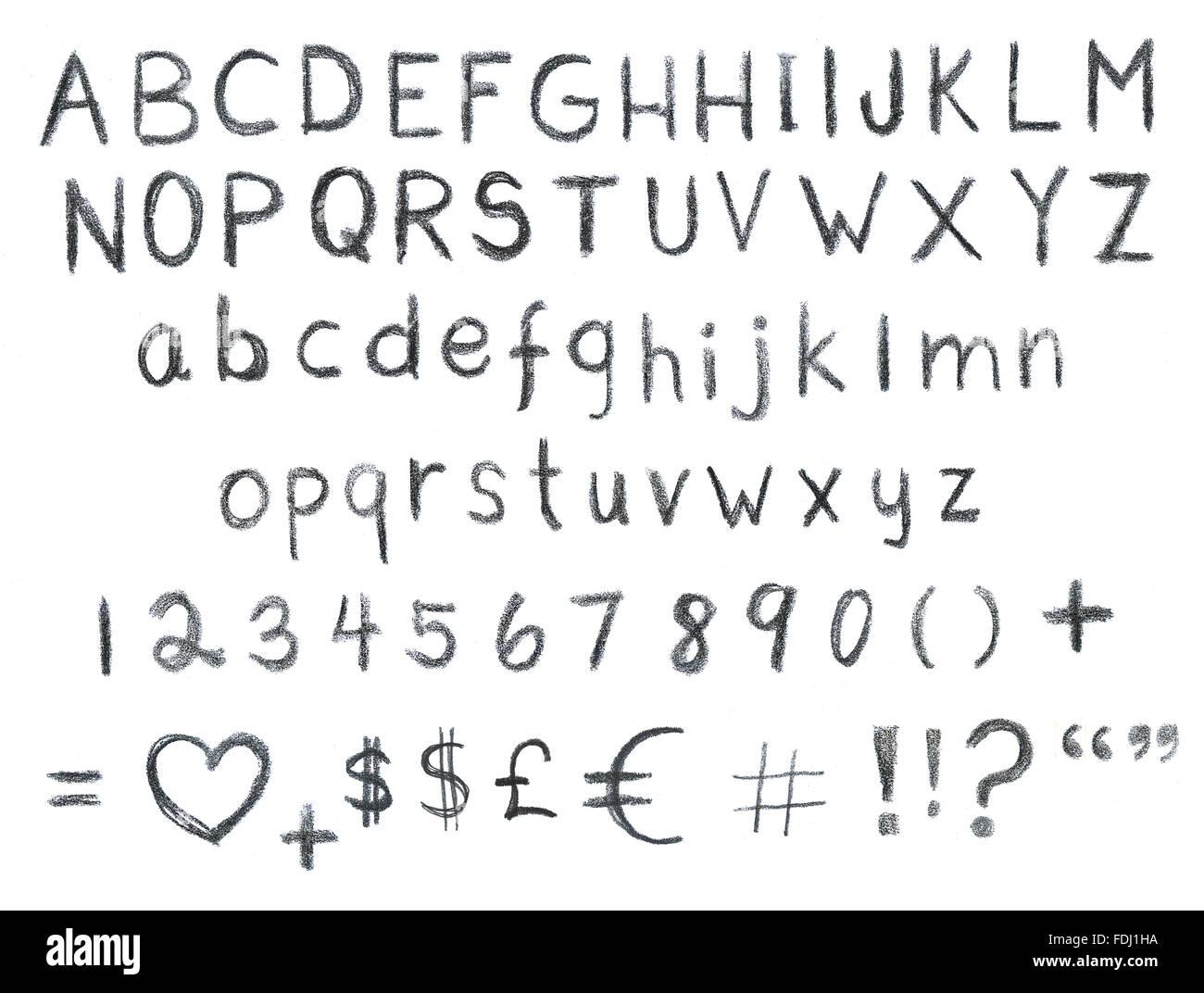 Matita-disegnato Grunge set di font Immagini Stock
