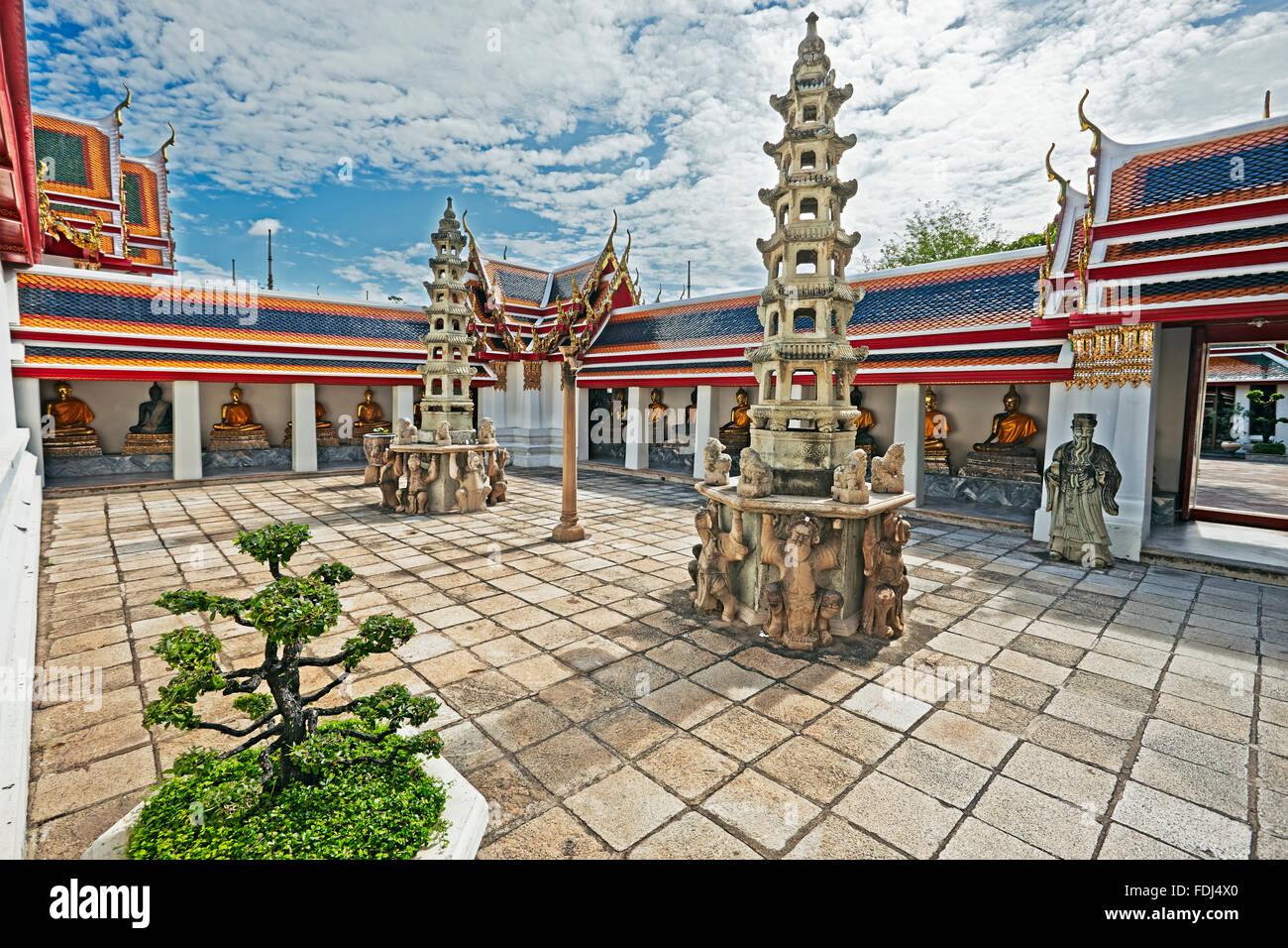 Wat Pho tempio di Bangkok, Tailandia. Immagini Stock