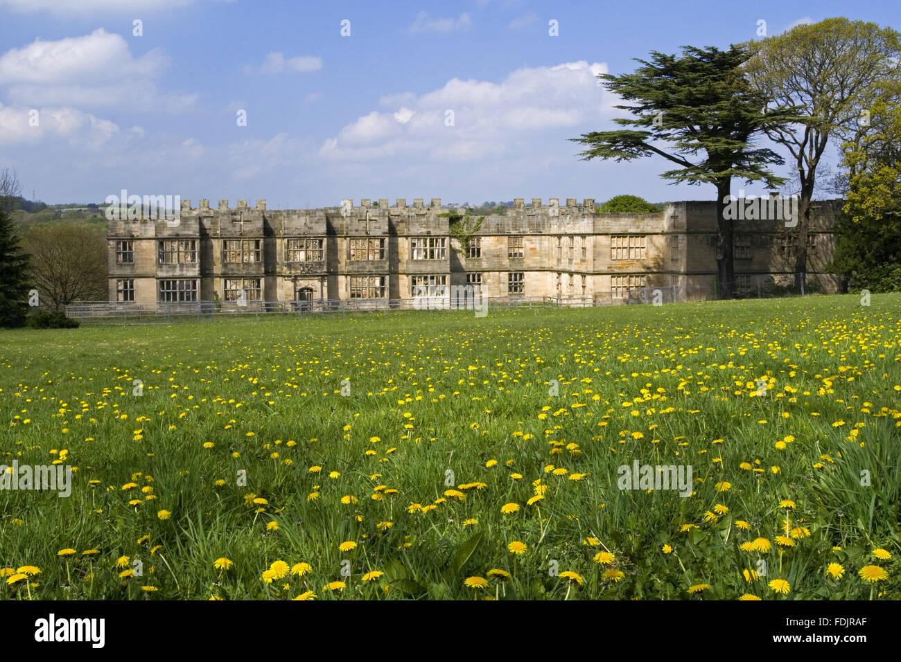 Vista su un prato di fiori selvaggi verso la Hall costruito tra il 1603 e il 1620, con alterazioni in entrambi del XVIII e del XIX secolo, a Gibside, Newcastle upon Tyne. George Bowes eredita le proprietà nel 1722 e paesaggistici terreni intorno Gibside Hall. Foto Stock