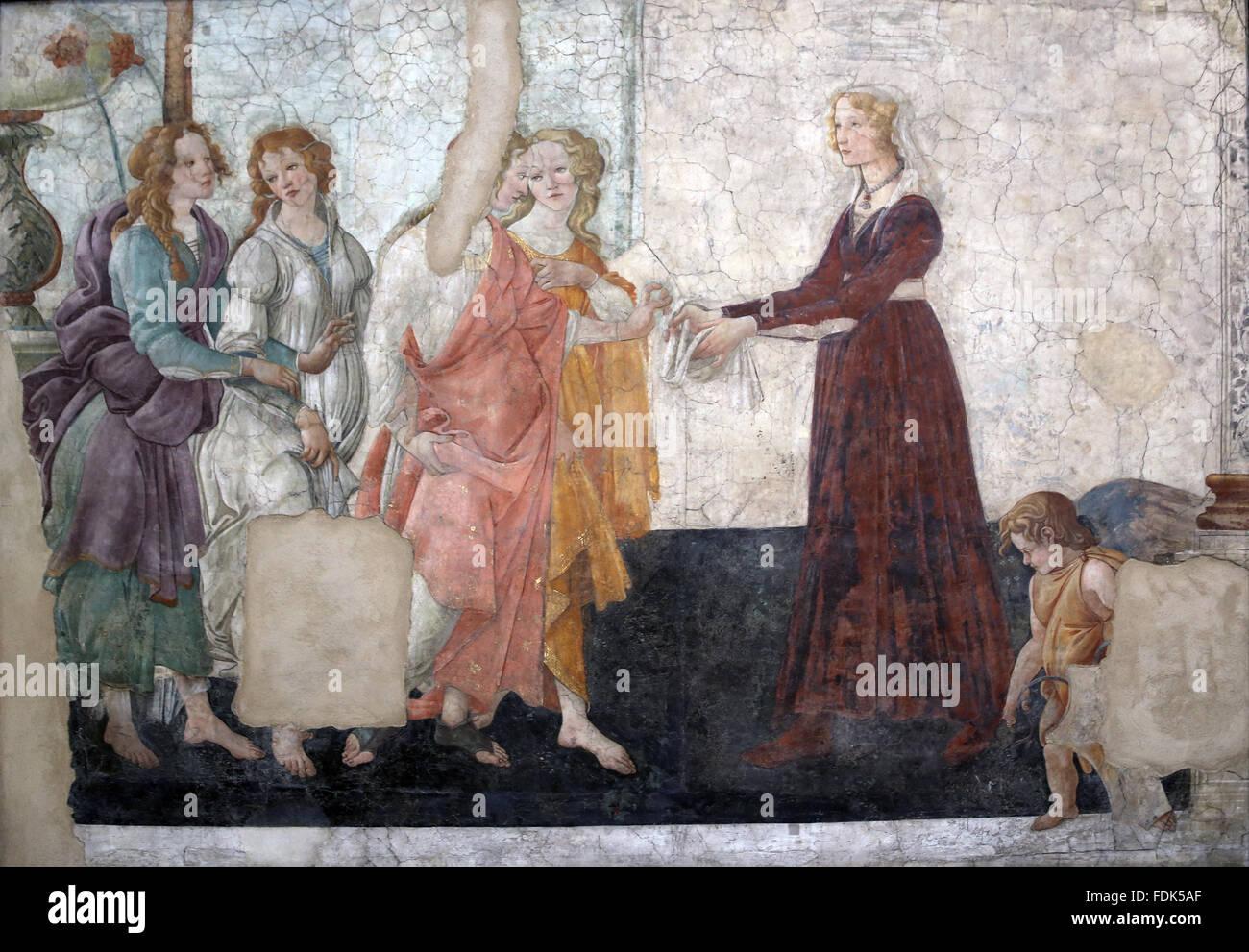Venere e le Tre Grazie offrono doni ad una giovane donna. Affresco.1483-85. Da Sandro Botticelli (1445-1510). Primo Immagini Stock