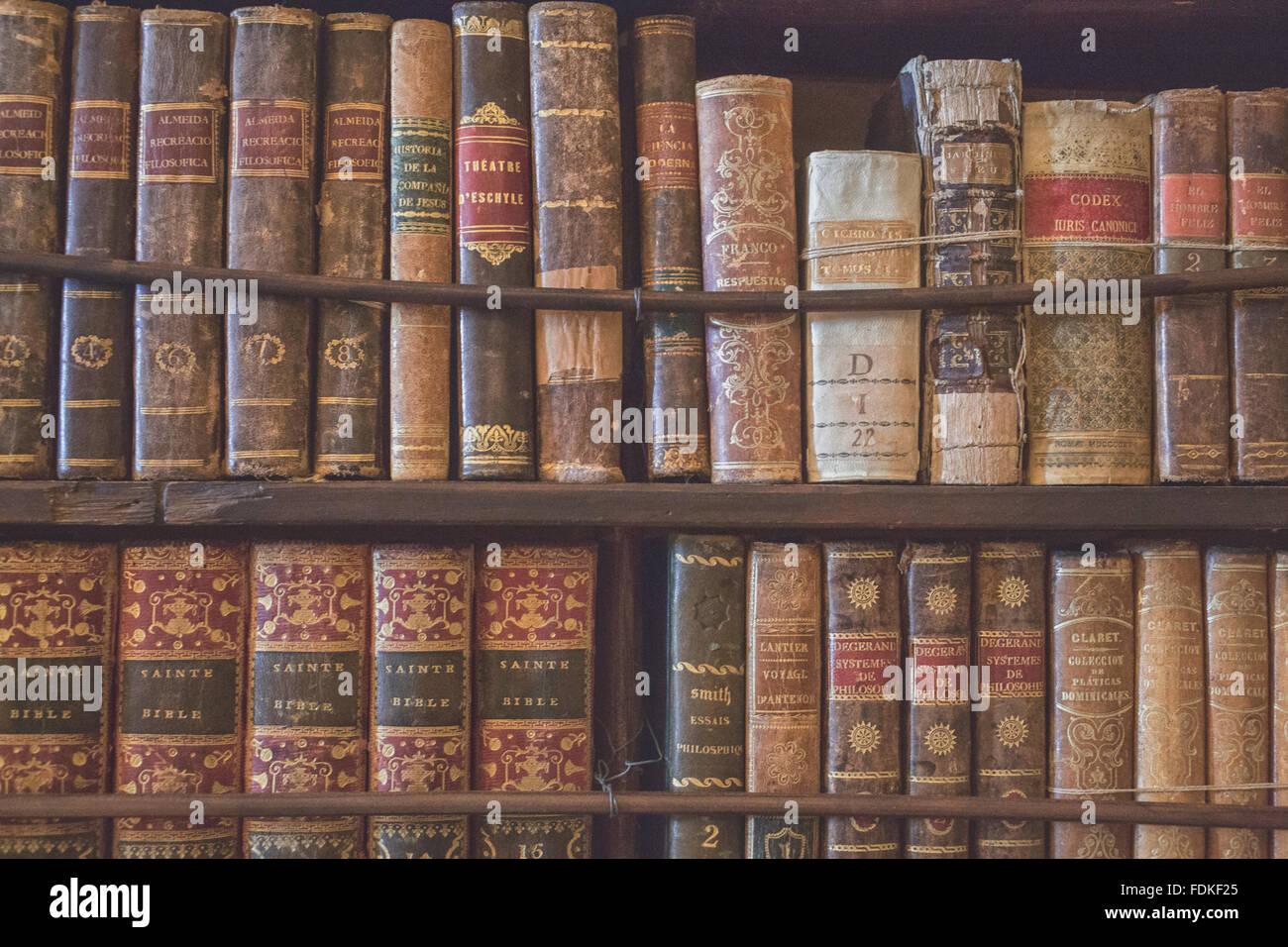 Scaffalature In Legno Per Libri.Libri Antichi Su Scaffalature Di Legno Foto Immagine Stock