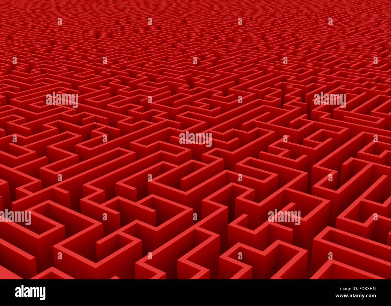 Labirinto rosso all'orizzonte Immagini Stock