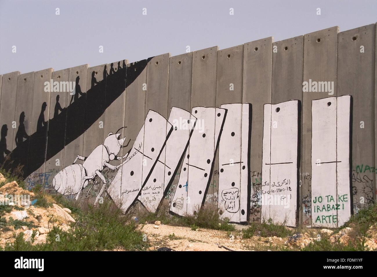 Superare frontiere,barriera israeliano,frontiera muro,Israele Immagini Stock