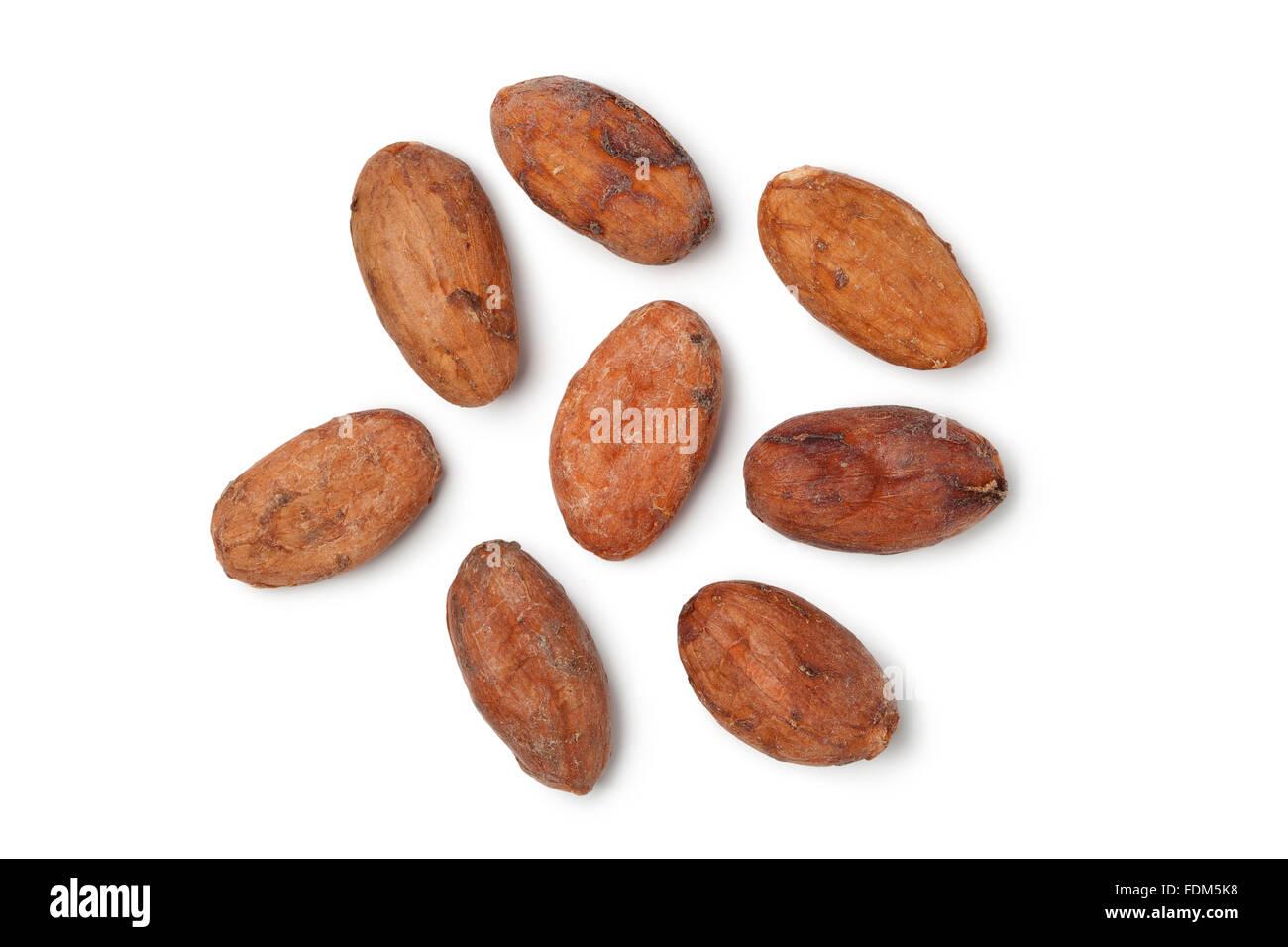 Il commercio equo e solidale cocao fagioli su sfondo bianco Immagini Stock