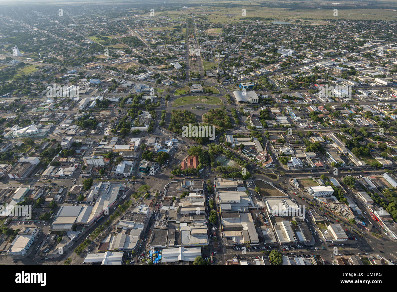 Vista aerea della città soprattutto la struttura urbana a ventaglio Immagini Stock