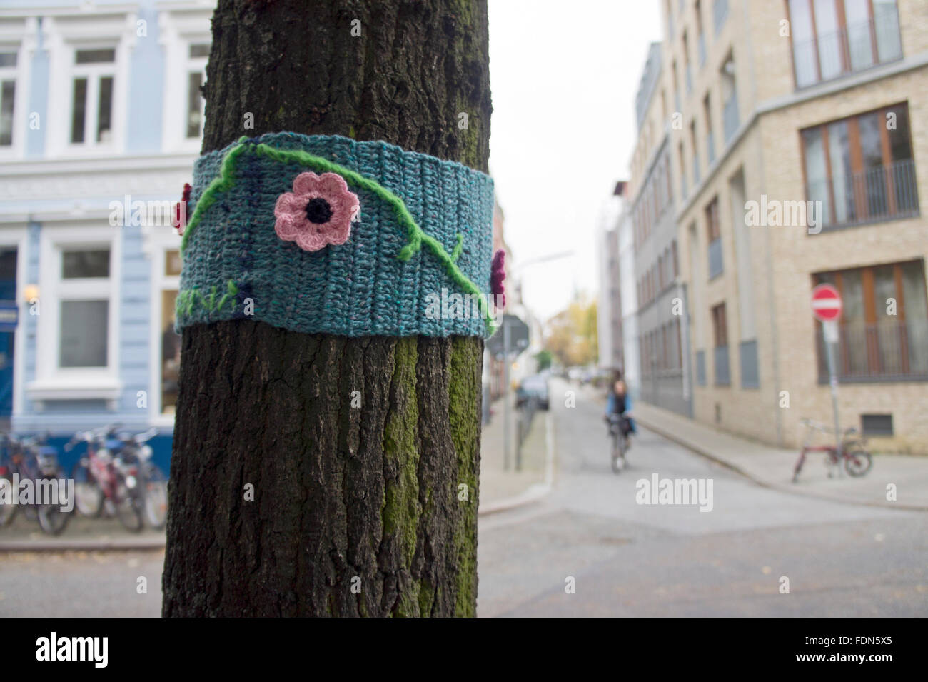 Streetart,crochet,guerriglia della maglia Immagini Stock
