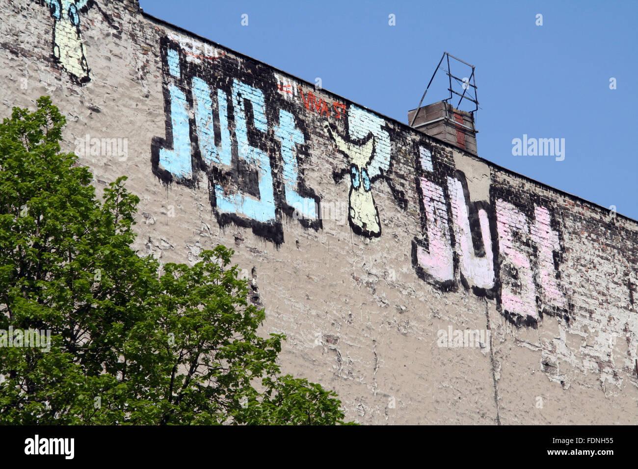 Appena,graffiti,casa wall Immagini Stock