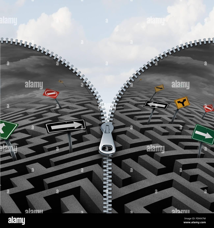 Business insight e concetto di scoperta come un confuso labirinto labirinto o in fase di apertura con zip per rivelare Immagini Stock