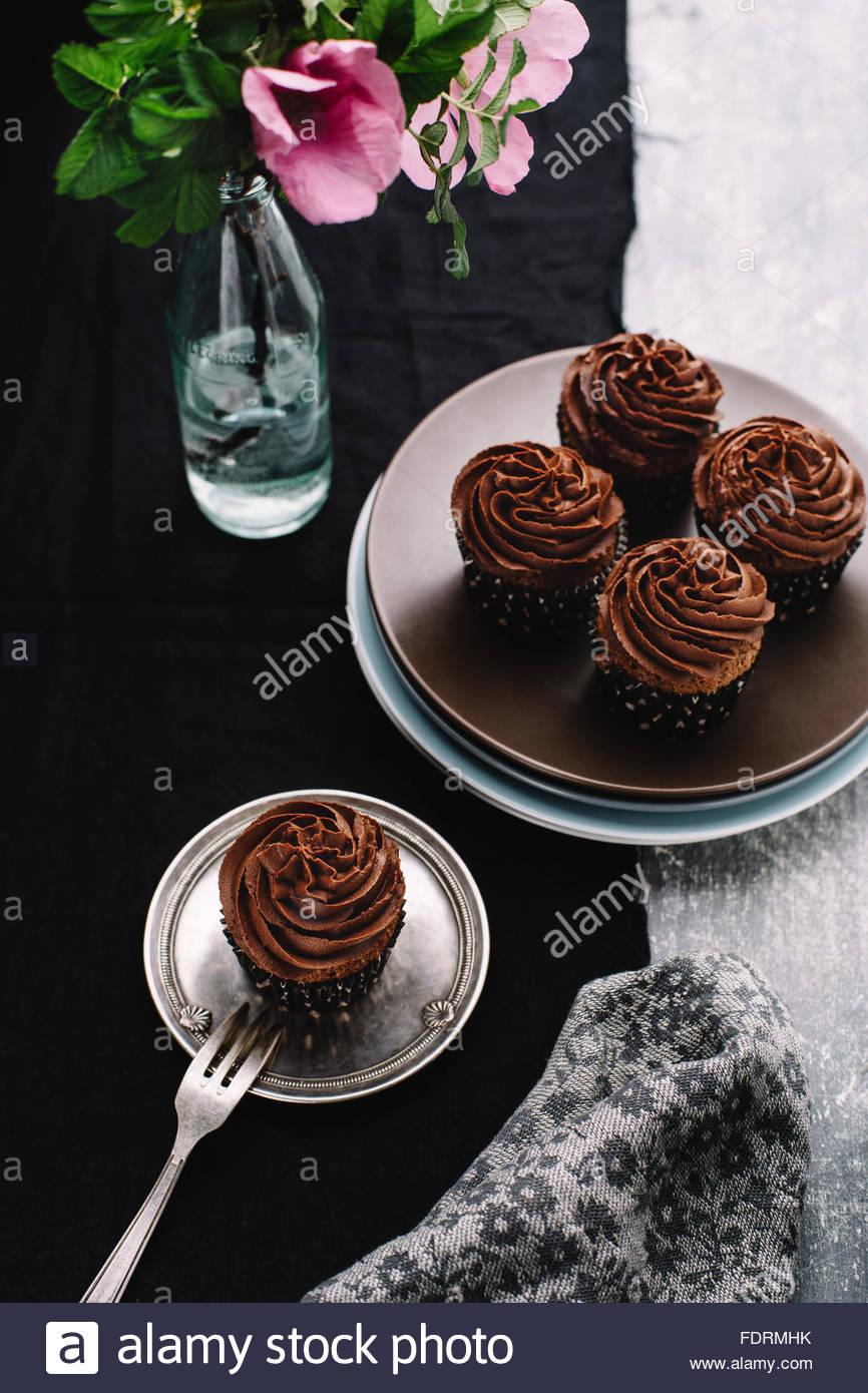Ricca tortini di cioccolato Foto Stock
