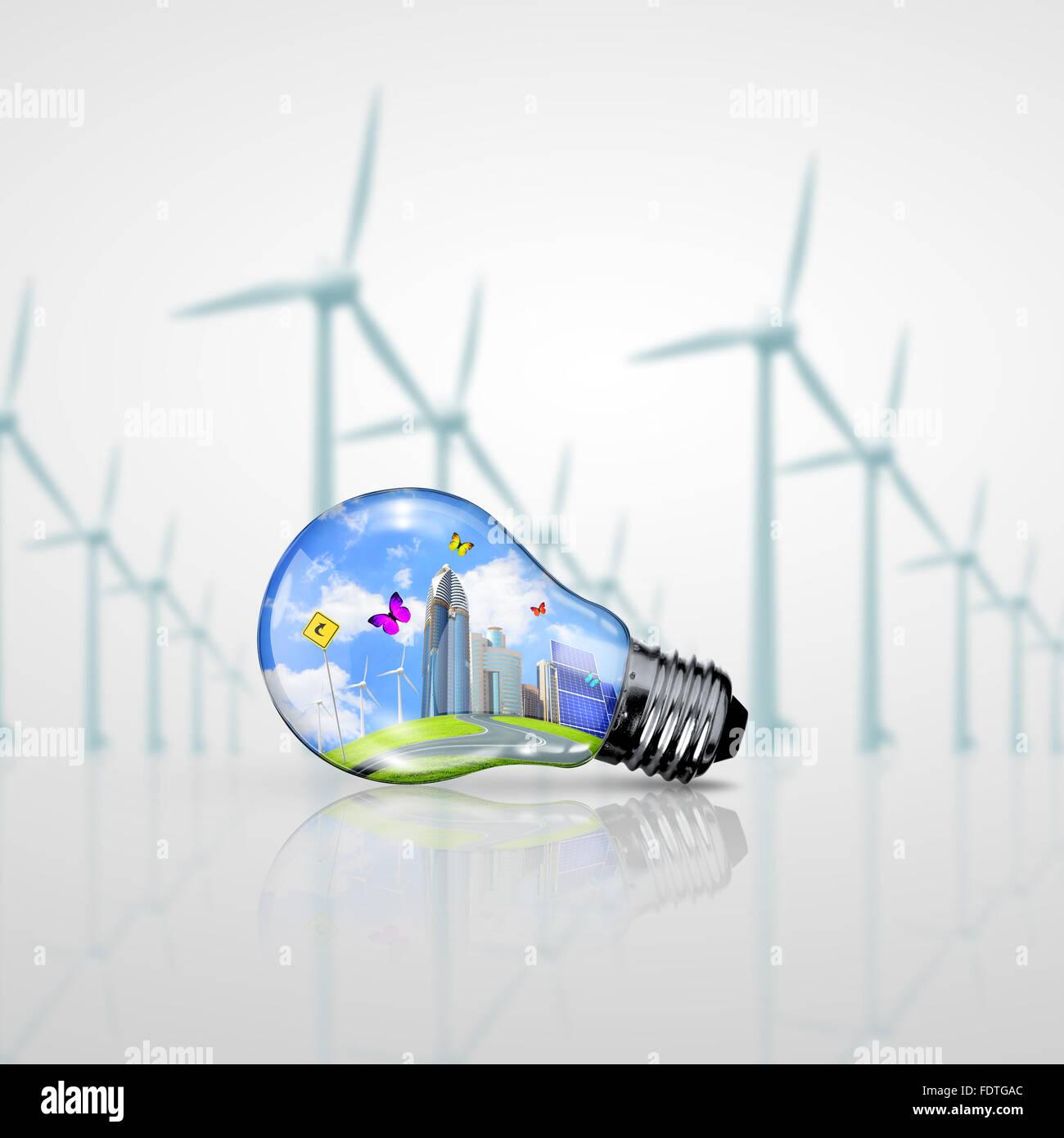 Energia verde simboli, concetto di ecologia, lampadina Immagini Stock