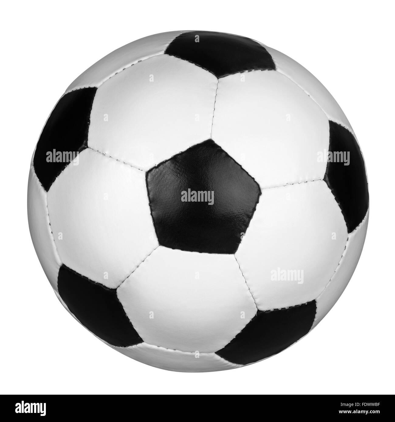 Pallone da calcio isolati su uno sfondo bianco, percorso di clipping incluso. Foto Stock