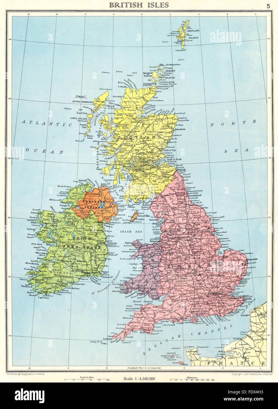 Cartina Geografica Inghilterra E Scozia.Isole Britanniche Regno Unito Stato Libero Irlandese Inghilterra Scozia Galles 1938 Mappa Foto Stock Alamy