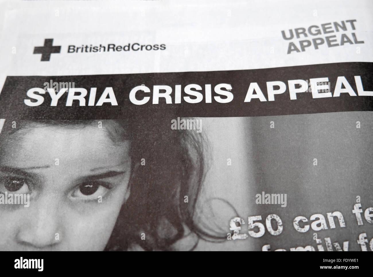 Titolo di giornale la Croce Rossa Britannica Siria appello di crisi nel gennaio 2016 LONDON REGNO UNITO Immagini Stock