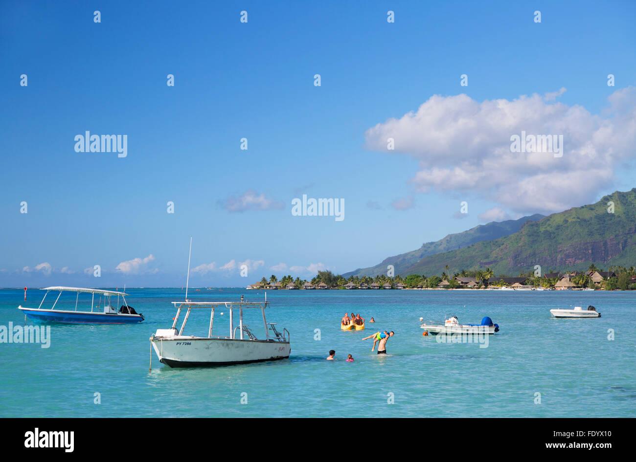 Hauru Point, Mo'Orea, Isole della Società, Polinesia Francese Immagini Stock