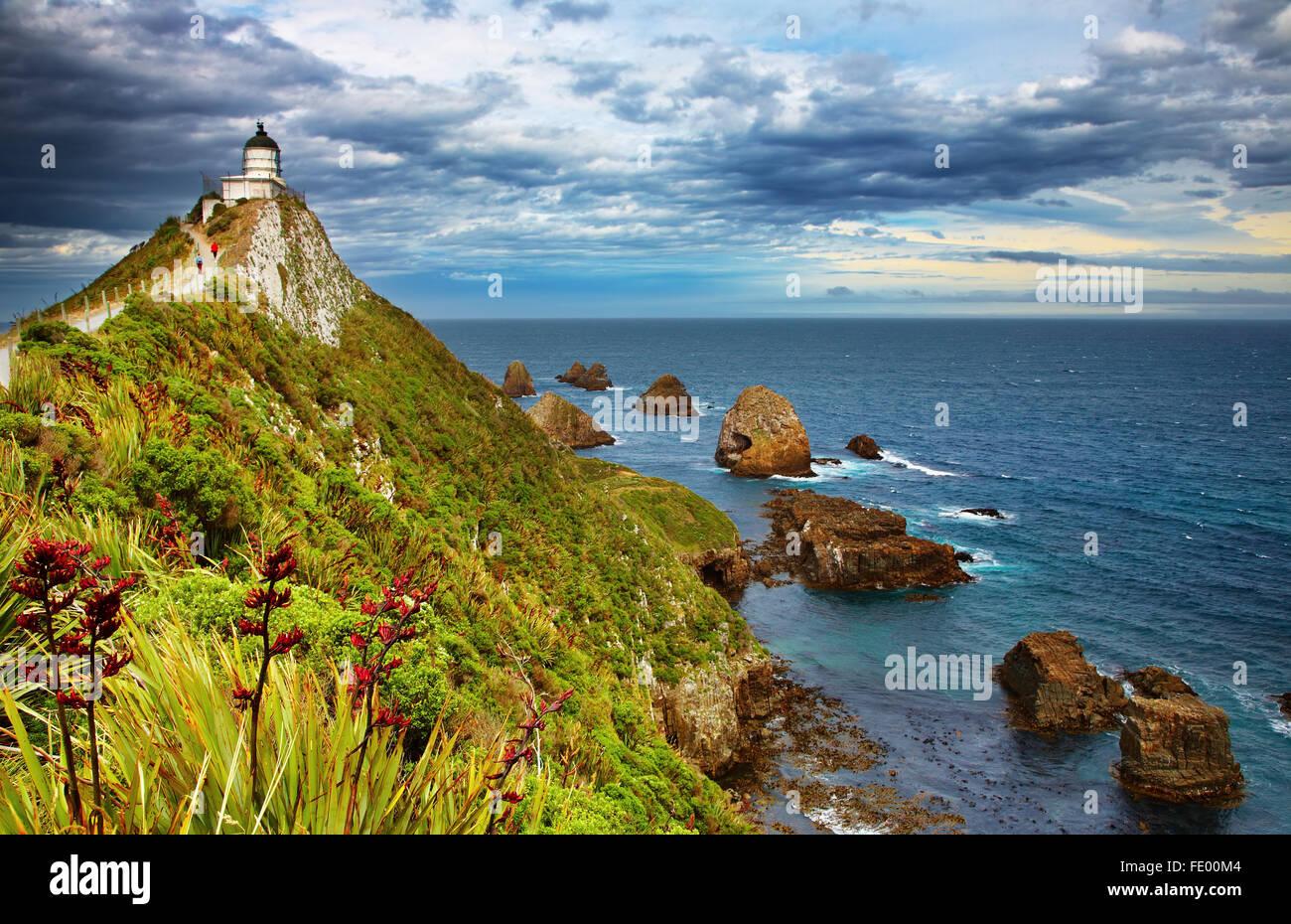 Nugget Point Lighthouse, Nuova Zelanda Immagini Stock