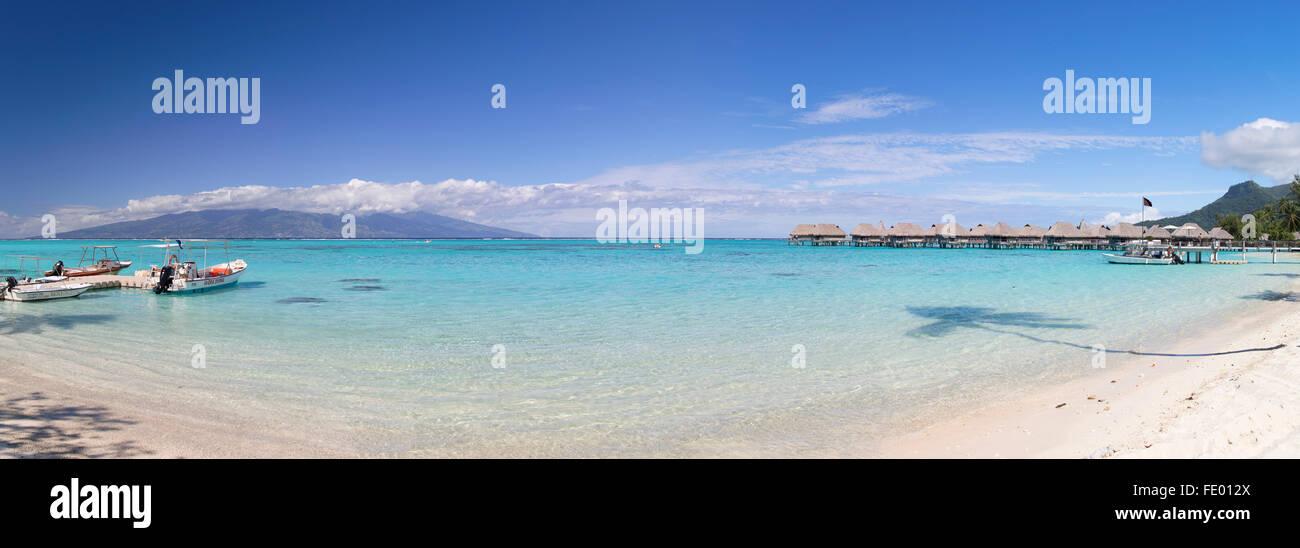 Bungalow Overwater del Hotel Sofitel, Moorea, Isole della Società, Polinesia Francese Immagini Stock