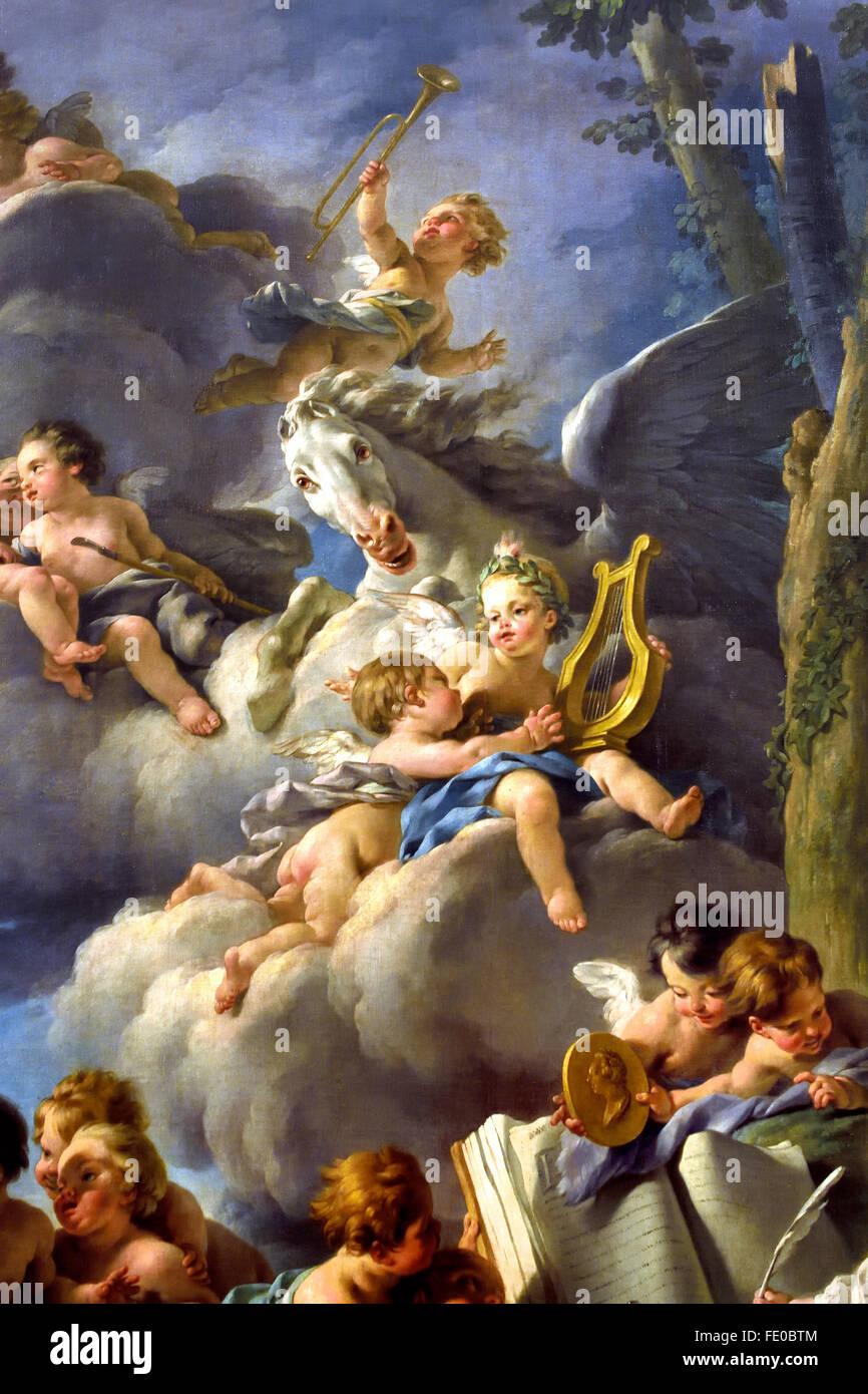 Il genius di poesia, storia, fisica e astronomia 1761 Noël Hallé 1711 - 1781 pittore francese in Francia Immagini Stock