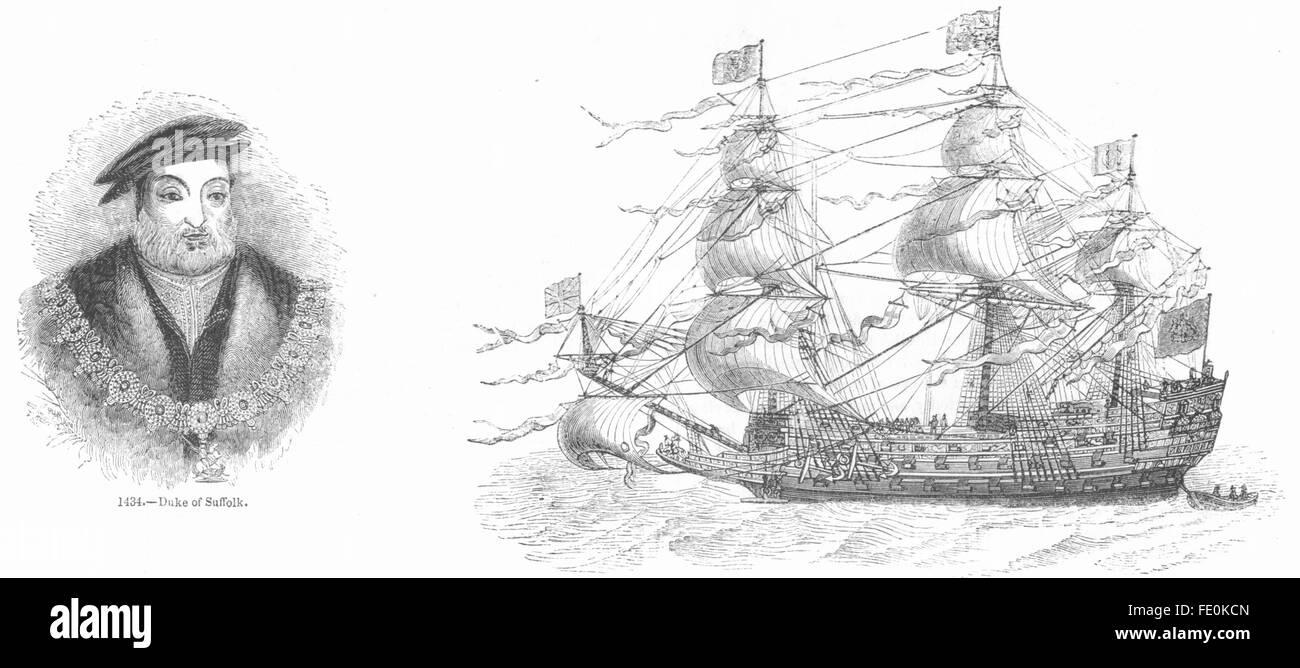 SUFFOLK: Duca; sovrano di mari, antica stampa 1845 Immagini Stock