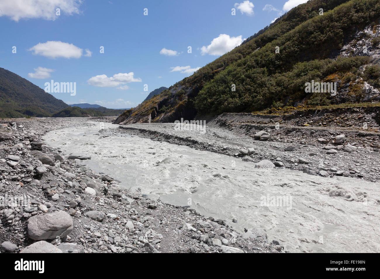 Flusso glaciale, Franz Joseph Glacier - Nuova Zelanda Immagini Stock